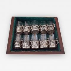 19th Century Set of Ten Sterling Silver Shot Glasses by W Comyn - 1695461