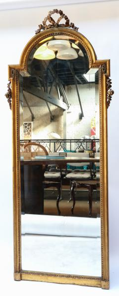 19th Century Tall Louis XVI Carved Giltwood Mirror - 1029431