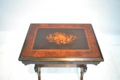 19th century Gothic side table Marquetry Inlaid Gold incised carved base - 1333815