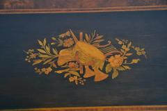 19th century Gothic side table Marquetry Inlaid Gold incised carved base - 1333826