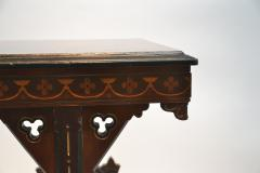 19th century Gothic side table Marquetry Inlaid Gold incised carved base - 1333829