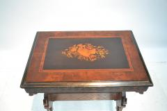 19th century Gothic side table Marquetry Inlaid Gold incised carved base - 1333831