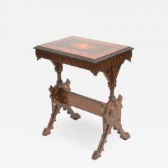 19th century Gothic side table Marquetry Inlaid Gold incised carved base - 1336837
