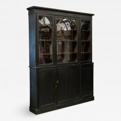 19thC Ebonised Mahogany Arched Glazed Bookcase - 1981876