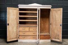 19thC English Painted Pine Compactum Wardrobe - 2070458