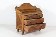 19thC English Pine Grain Painted Galleried Chest - 2120734