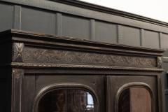 19thC French Ebonised Oak Glazed Vitrine Armoire - 2070433