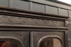 19thC French Ebonised Oak Glazed Vitrine Armoire - 2070438