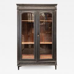 19thC French Ebonised Oak Glazed Vitrine Armoire - 2072147