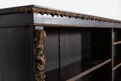 19thC Large English Ebonised Gilt Bronze Open Bookcase - 2047794
