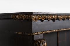 19thC Large English Ebonised Gilt Bronze Open Bookcase - 2047803