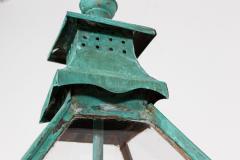 19thC Large French Verdigris Copper Lantern - 2052039