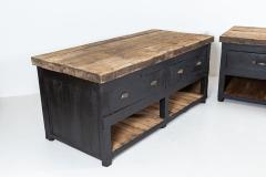 19thC Pair of English Ebonised Pine Counters Kitchen Islands - 2047858