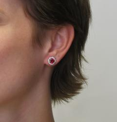 2 14 Carat Red Spinel and 0 32 Carat Diamond 18 Karat White Gold Earrings - 1108214
