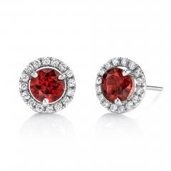 2 14 Carat Red Spinel and 0 32 Carat Diamond 18 Karat White Gold Earrings - 1418594
