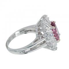 2 39 Carat Pink Sapphire Baguette Diamond Halo Platinum Gold Engagement Ring - 396435