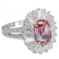 2 39 Carat Pink Sapphire Baguette Diamond Halo Platinum Gold Engagement Ring - 396437
