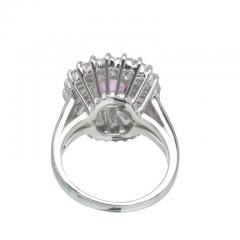 2 39 Carat Pink Sapphire Baguette Diamond Halo Platinum Gold Engagement Ring - 396438