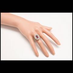2 39 Carat Pink Sapphire Baguette Diamond Halo Platinum Gold Engagement Ring - 396442