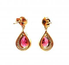2 5CT Natural Rubellite Tourmaline and Diamonds Earrings 14KT Yellow Gold - 1904563