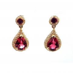 2 5CT Natural Rubellite Tourmaline and Diamonds Earrings 14KT Yellow Gold - 1904568