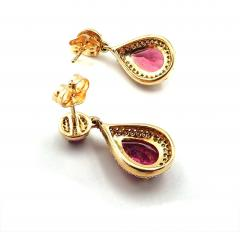 2 5CT Natural Rubellite Tourmaline and Diamonds Earrings 14KT Yellow Gold - 1904569