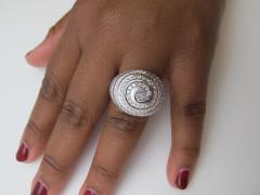 2 77 Carat Diamond 18k White Gold Dome Ring Art Deco Inspired - 1416040