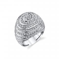 2 77 Carat Diamond 18k White Gold Dome Ring Art Deco Inspired - 1418577