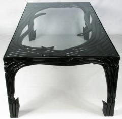 Phyllis Morris Carved Black Lacquer Dining Table Circa 1970s - 13426