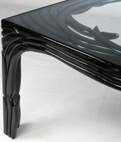 Phyllis Morris Carved Black Lacquer Dining Table Circa 1970s - 13427