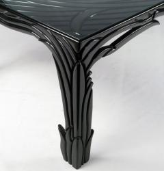 Phyllis Morris Carved Black Lacquer Dining Table Circa 1970s - 13428