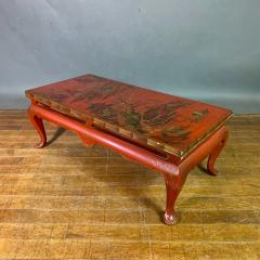 20th Century Chinese Scenic Red Lacquered Low Coffee Table - 1350894