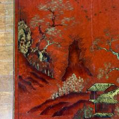 20th Century Chinese Scenic Red Lacquered Low Coffee Table - 1350896
