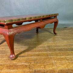 20th Century Chinese Scenic Red Lacquered Low Coffee Table - 1350899
