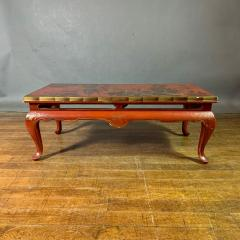 20th Century Chinese Scenic Red Lacquered Low Coffee Table - 1350900