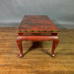 20th Century Chinese Scenic Red Lacquered Low Coffee Table - 1350901