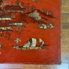 20th Century Chinese Scenic Red Lacquered Low Coffee Table - 1350907