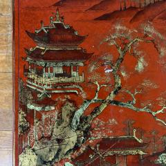 20th Century Chinese Scenic Red Lacquered Low Coffee Table - 1350908
