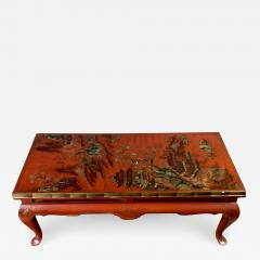 20th Century Chinese Scenic Red Lacquered Low Coffee Table - 1352801