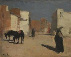 20th Century Oil Painting A Street in Luxor by Huub Hierck 1917 1978 - 1363386