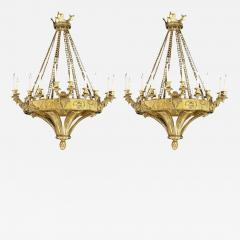 20th Century Pair of Gilt Bronze Chandeliers in the Gothic Revival Manner - 675019