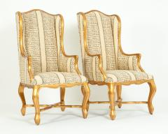 20th Century Pair of Giltwood Frame Bergeres Chairs Side Armchairs - 1131495