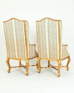 20th Century Pair of Giltwood Frame Bergeres Chairs Side Armchairs - 1131497