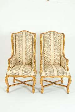 20th Century Pair of Giltwood Frame Bergeres Chairs Side Armchairs - 1131498