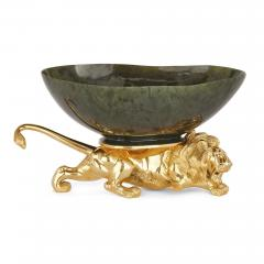 20th Century Silver Gilt and Nephrite Crouching Lion Decorative Bowl - 1942704
