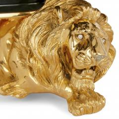 20th Century Silver Gilt and Nephrite Crouching Lion Decorative Bowl - 1942708