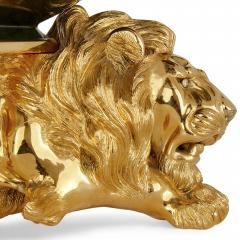 20th Century Silver Gilt and Nephrite Crouching Lion Decorative Bowl - 1942709