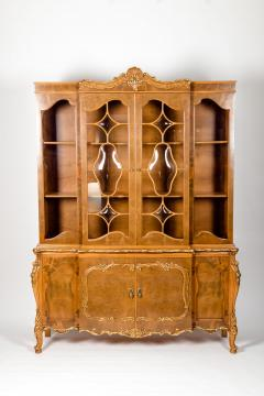 20th Century Two Parts Burlwood Hutch or China Cabinet - 1038085