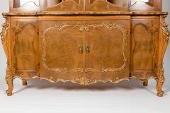 20th Century Two Parts Burlwood Hutch or China Cabinet - 1038086