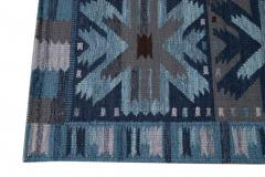 21st Century Blue Modern Swedish Style Wool Rug - 1538094
